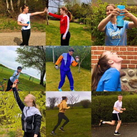 Billedecollage af elever, der dyrker idræt